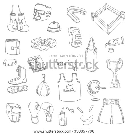 Hand drawn doodle boxing set Vector illustration Sketchy sport related icons boxing elements, boxing uniform, gloves, shoes, helmet, boxing ring, belt, trophy, box, martial art, combat sport - stock vector