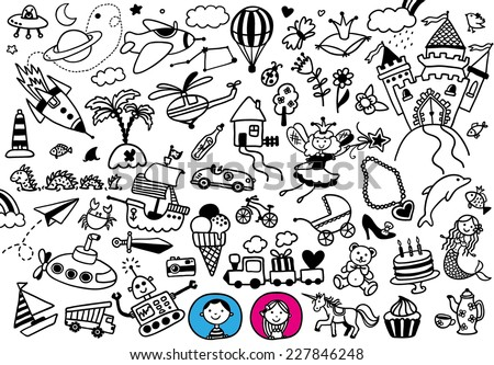 hand-drawn doodle boy's and girl's dreams - stock vector