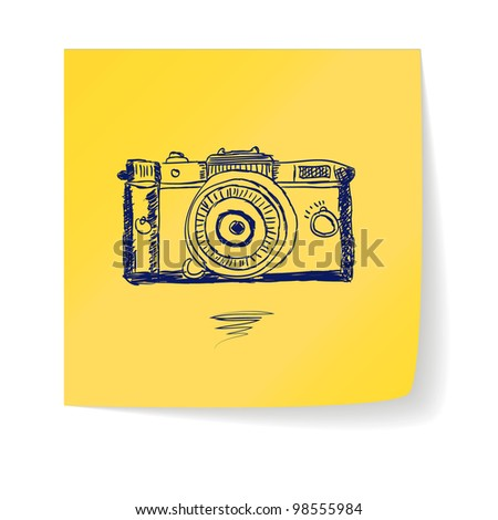 hand drawn doodle camera on a sticker - stock vector