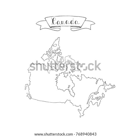 Hand Drawn Doodle Canada Country Map Stock Photo Photo Vector