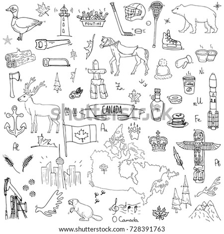 Hand Drawn Doodle Canada Icons Set Stock Vector 728391763 Shutterstock