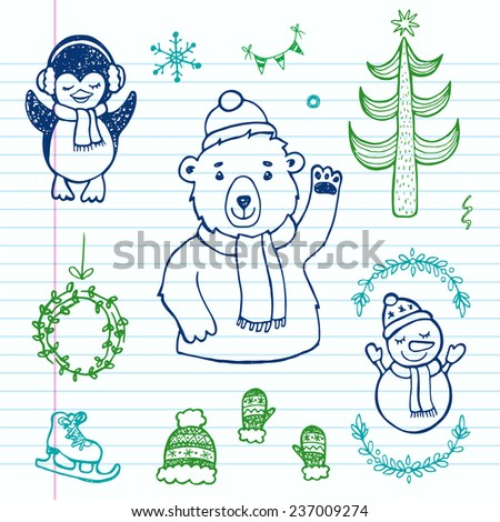 Hand drawn doodle Christmas set. Perfect for holiday design. - stock vector