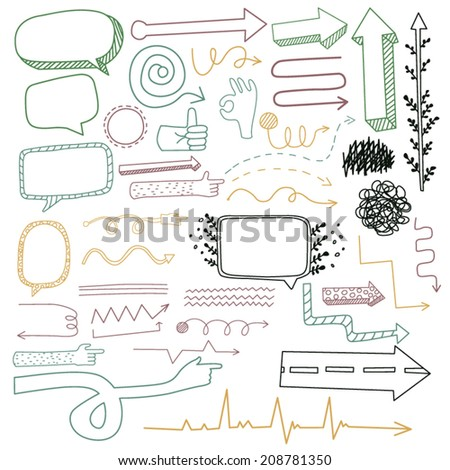 Hand Drawn Doodle Colored Arrows / Vector illustration of doodle hand drawn borders and lines, speech bubbles, hand, pointers  - stock vector