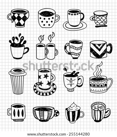 Hand drawn doodle cups for tea and coffee - stock vector