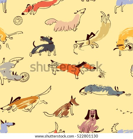 Hand drawn doodle cute dogs. Seamless pattern with playing pets with disk, ball, sniffing, tracking. Artistic canine vector characters. Background with sketchy domestic animals