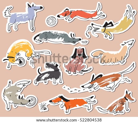 Hand drawn doodle cute dogs. Stickers set with playing pets with disk,  ball, sniffing, tracking. Artistic canine vector characters