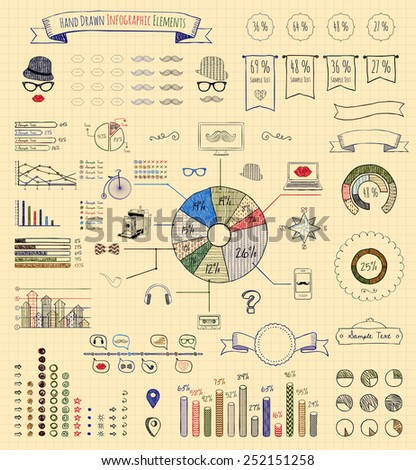 Hand-Drawn Doodle Design Elements and Icons of Vintage Infographics. Pen Drawing. Vector Illustration - stock vector