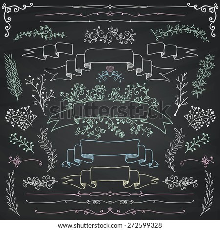 Hand Drawn Doodle Design Elements. Decorative Floral Banners, Dividers, Branches, Ribbons. Chalk Drawing. Chalkboard Texture. Vintage Vector Illustration. - stock vector