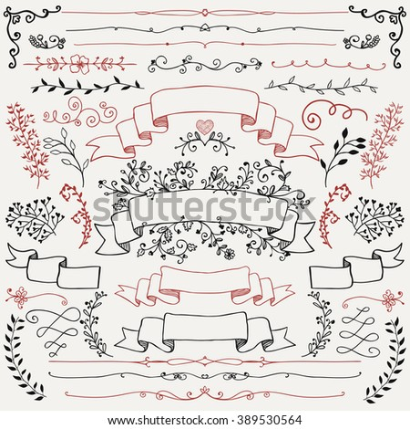 Hand Drawn Doodle Design Elements. Sketched Rustic Decorative Floral Banners, Dividers, Branches, Ribbons. Vintage Vector Illustration. - stock vector