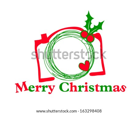 hand drawn doodle digital camera illustration with christmas elements, take a photo, merry christmas - stock vector