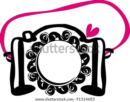 hand drawn doodle digital camera illustration with love heart and rose - stock vector