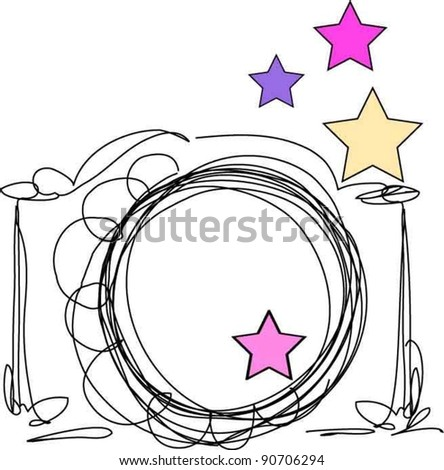 hand drawn doodle digital camera illustration with stars - stock vector