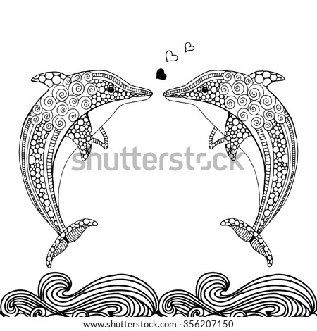 Hand drawn doodle dolphin pair in love - stock vector