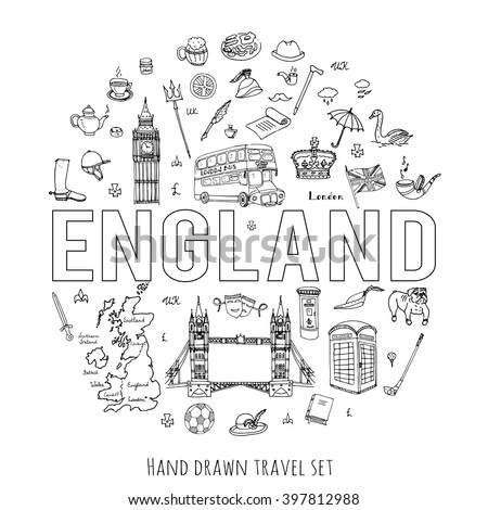 Hand drawn doodle England set Vector illustration United Kingdom icons  Welcome to London elements British symbols collection Bus Horse riding Golf Crown Beer Lion Bulldog London bridge Big Ben Tower - stock vector