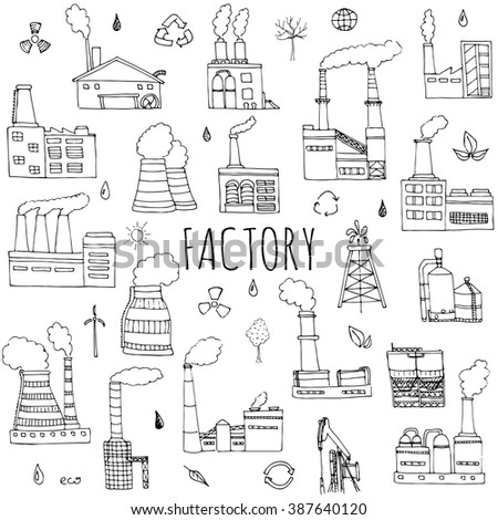 Hand drawn doodle Factory set Vector illustration Sketchy cartoon Industrial factory icons Factory building Manufacture building Eco concept Pipe with smoke Pollution Recycling Tree Plant Leaves - stock vector