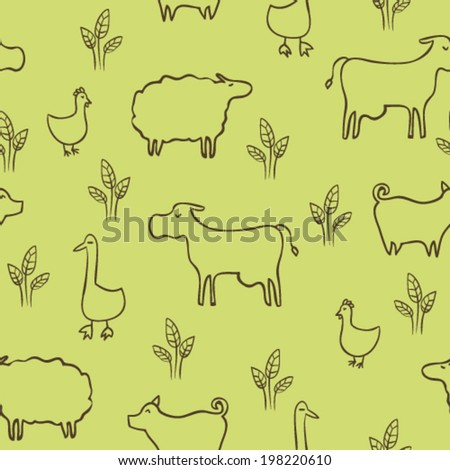 hand drawn doodle farm animals and birds, childish seamless pattern - stock vector