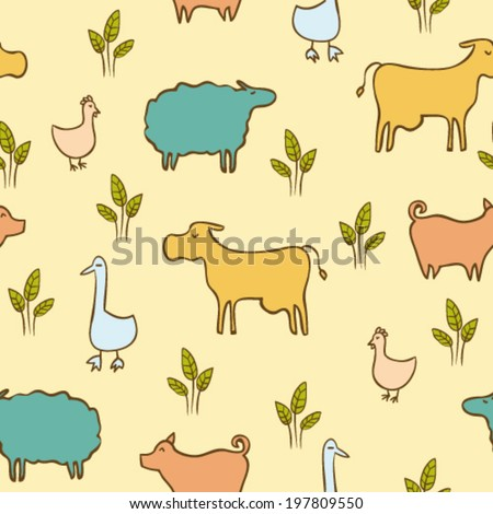 hand drawn doodle farm animals and birds, colorful childish seamless pattern - stock vector