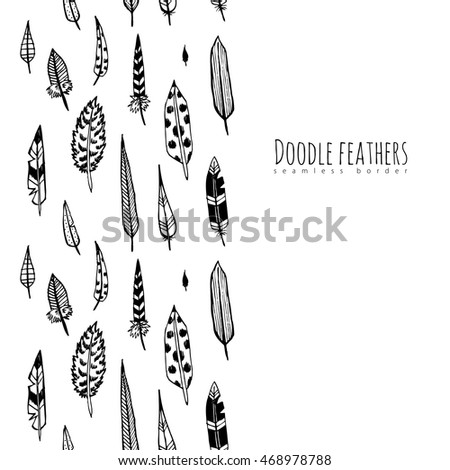 Hand drawn doodle feathers. Seamless border.
