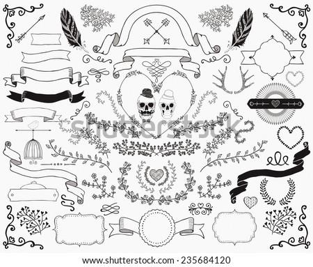 Hand-Drawn Doodle Floral Design Elements. Decorative Ribbons, Frames, Wreaths. Valentine's Day. Wedding. Vector Illustration. - stock vector