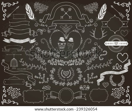 Hand-Drawn Doodle Floral Design Elements. Decorative Ribbons, Frames, Wreaths. Valentine's Day. Wedding. Chalk Drawing Vector Illustration. - stock vector