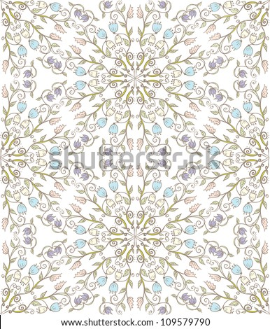 Hand drawn doodle floral ornamental seamless pattern in pale colors. - stock vector