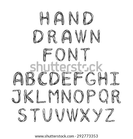 Hand Drawn Doodle Font Cute Letters For Cards Prints And Children Goods