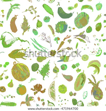 Hand drawn doodle food, vegetables and fruits, seamless pattern. Colored green objects, white background. Design illustration for poster, flyer.