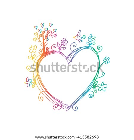 Hand drawn doodle frame with floral. Sketchy style. - stock vector