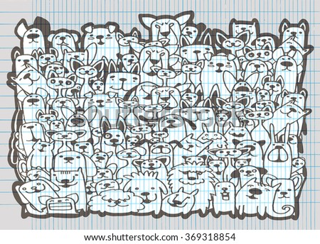 Hand drawn doodle Funny Dogs and Cat Set, Vector illustration.
