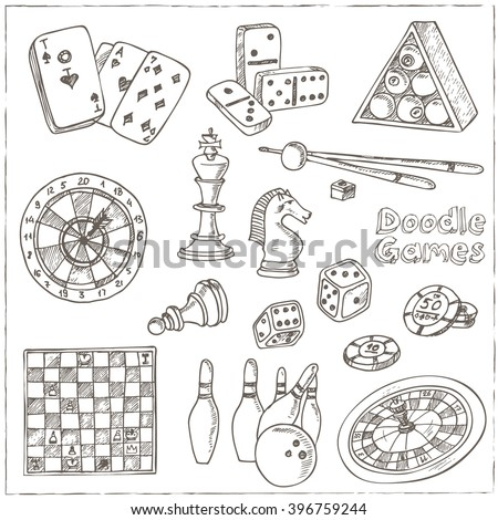 Hand drawn doodle Games set. Chess piece, casino  roulette, cards, billiards. Sketches. Vector illustration of for design and packages product. Vector Illustration. - stock vector
