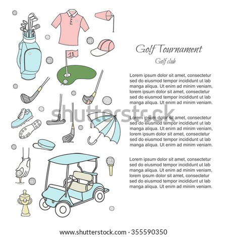 Hand drawn doodle Golf set collection Vector illustration for golfing article, Sketchy Golf icons Golf flyer in line style vector Golfer Equipment Golf club background Ball Bag Flag Putter Golf cart  - stock vector