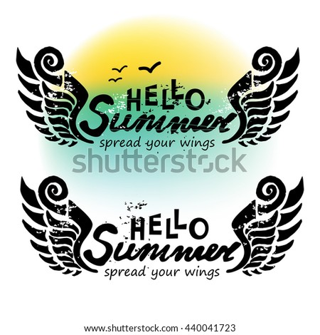 Beau Hand Drawn Doodle Grunge Cool Hello Summer Banner. Watercolor. Spread Your  Wings Concept