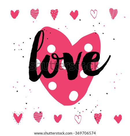 Hand-drawn doodle happy valentines day postcard print with hearts pink. Design elements. Doodle hand drawn style illustration for greeting card, t-shirts and bags print, scrap-booking - stock vector