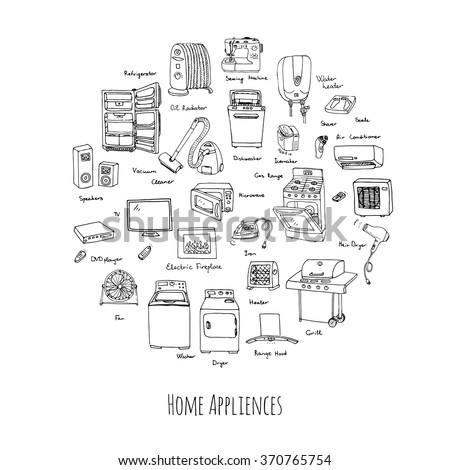 Hand drawn doodle Home appliance vector illustration Cartoon icons set Various household equipment and facilities Major and small appliances Consumer electronics Kitchenware Freehand vector sketches - stock vector