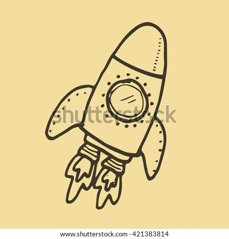 Hand Drawn Doodle Icons of Rocket Illustrations design for science and technology concept - stock vector