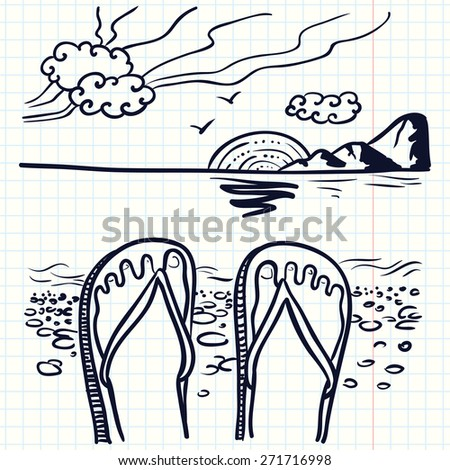 Hand-drawn doodle illustration with flip flop on the beach - stock vector