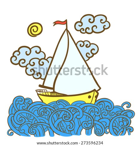 Hand-drawn doodle illustration with sailfish on the waves - stock vector