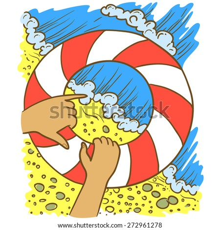 Hand-drawn doodle illustration with swimming circle and water - stock vector