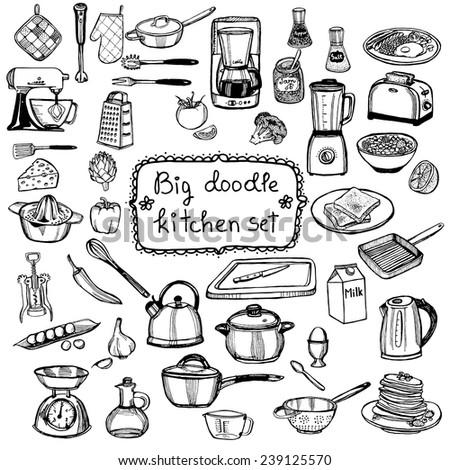 hand drawn doodle kitchen set - stock vector