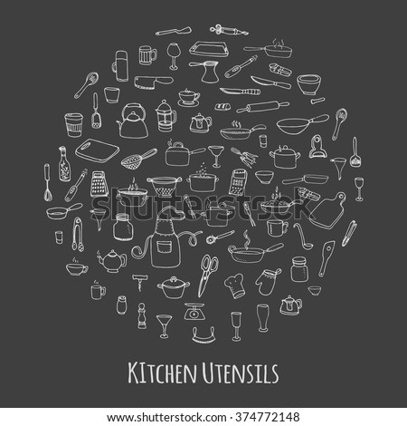 Hand drawn doodle Kitchen utensils set Vector illustration Sketchy kitchen ware icons collection Isolated appliance kitchen tools symbols Cutlery icons Cooking equipment Tea pot Pan Knife Chef hat Cup - stock vector