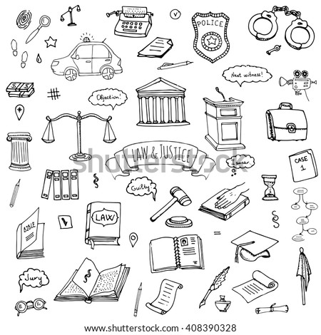Hand drawn doodle Law and Justice icons set Vector illustration law sketchy symbols collection Cartoon law concept elements suitable for info graphics, websites and print media. Black and white icons - stock vector