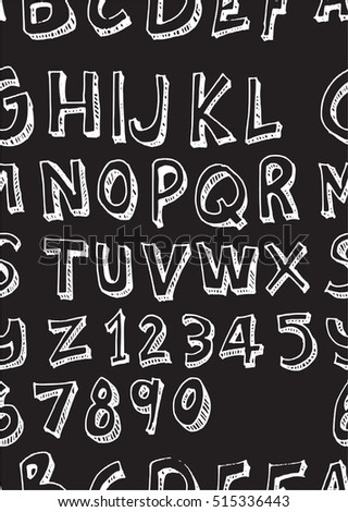Hand drawn doodle letters and decorative element seamless pattern. Black and white background.