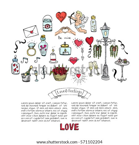 Hand drawn doodle Love and Feelings collection Vector illustration Sketchy icons Big set of icons for Valentine's day, Mothers day, wedding, love and romantic events Hearts hands Cupid Love arrow