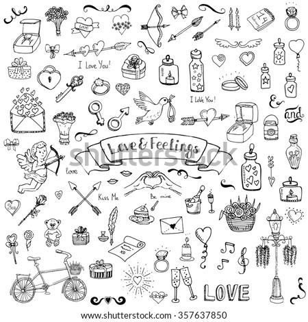 Hand drawn doodle Love and Feelings collection Vector illustration Sketchy Love icons Big set of icons for Valentine's day, Mothers day, wedding, love and romantic events Hearts hands cupid bouquet