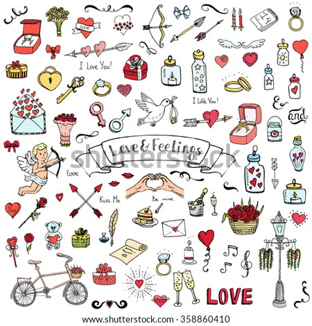 Hand drawn doodle Love and Feelings collection Vector illustration Sketchy Love icons Big set of icons for Valentine's day, Mothers day, wedding, love and romantic events Hearts hands cupid bouquet - stock vector