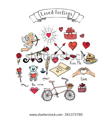 Hand drawn doodle Love and Feelings collection Vector illustration Sketchy Love icons Big set of icons for Valentine's day, Mothers day, wedding, love and romantic events Hearts hands cupid Flower - stock vector