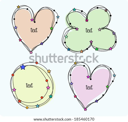 hand drawn doodle love heart frame flower frame and circle frame vector file set of 4 - stock vector