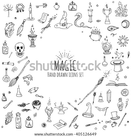 Hand Drawn Doodle Magic Set Vector Stock Vector 405126649 Shutterstock