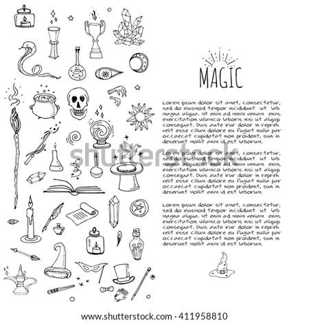 Hand Drawn Doodle Magic Set Vector Stock Vector 411958810 Shutterstock
