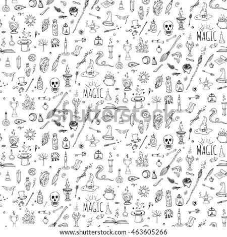 Hand Drawn Doodle Magic Set Vector Stock Vector 463605266 Shutterstock